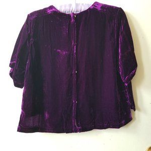 NWT Short Sleeve Purple Velvet Button Up Top